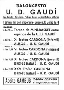 cartell del XI Trofeu J M Cardona 1974